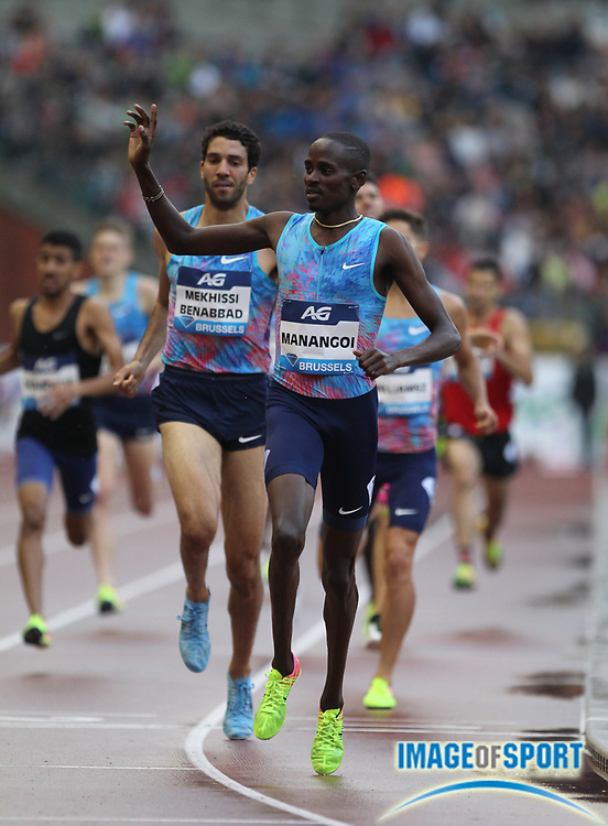 Elijah Manangoi (KEN) celebrates after winning the 1,500m in 3:38.97 during the 42nd Memorial Van Damme in an IAAF Diamond League meet at King Baudouin Stadium in Brussels, Belgium on Friday, September 1, 2017. (Jiro Mochizuki/Image of Sport)