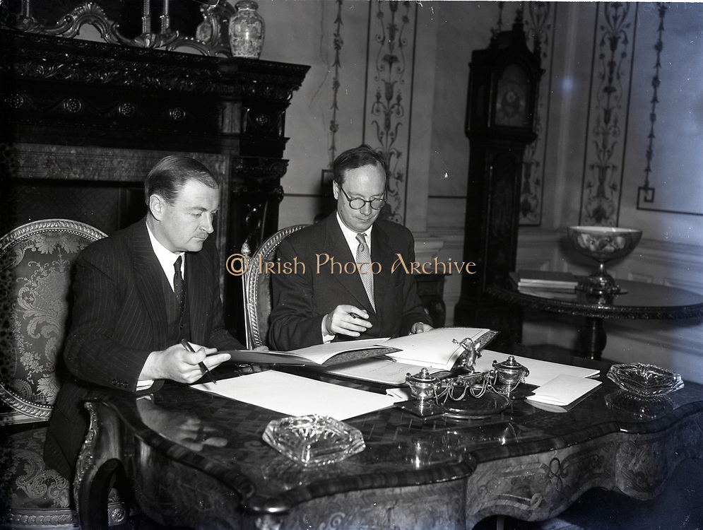 Liam Cosgrave Minister for Foreign Affairs signing an Agreement with USA for use of grant counterpart funds 22-3-1955.A counterpart fund is a technique for turning foreign aid into reserves of domestic currency. They were used by the UNRRA, and the Marshall Plan in the rebuilding of Western Europe after the Second World War, and today remain a common technique for delivering developmental assistance