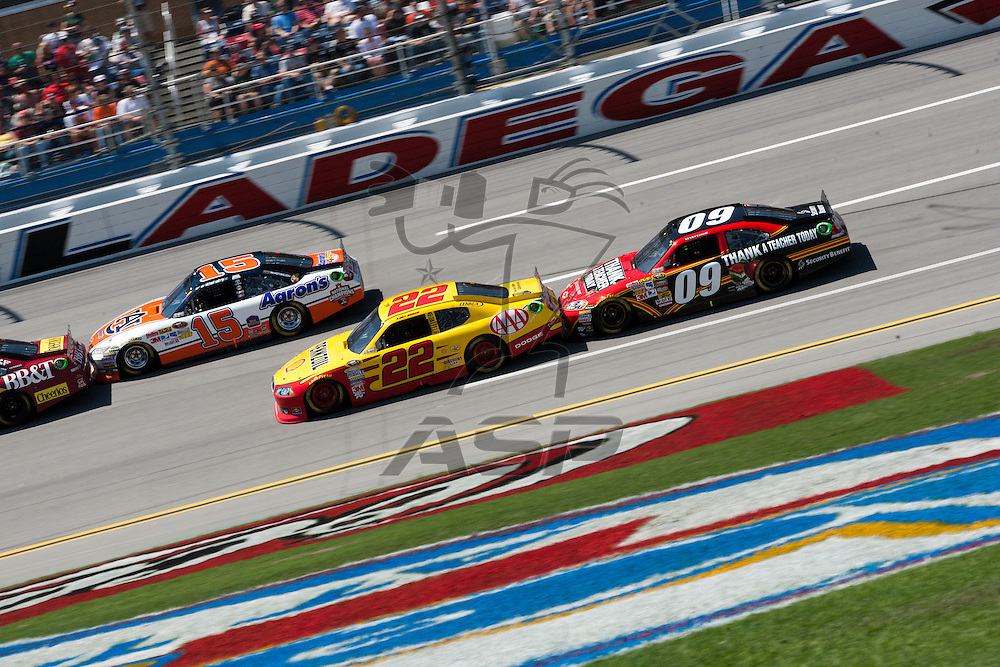 TALLADEGA, AL - APR 17, 2011: Kurt Busch (22) and Landon Cassill draft during the  at the Talladega Superspeedway in Talladega, AL.