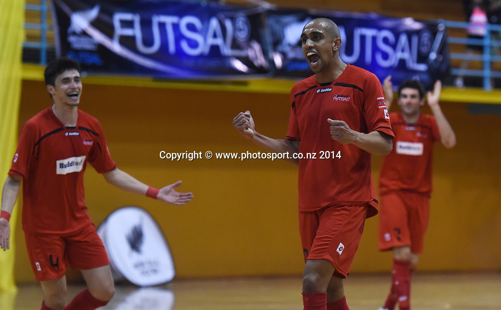 Mainland's Evandro Madruga celebrates his goal. Mainland v Capital. Final of the 2014 National Futsal League, Series 3. ASB Stadium, Auckland, New Zealand. Sunday 7 December 2014. Photo: Andrew Cornaga/photosport.co.nz
