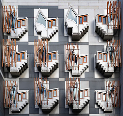 Exterior facade detail of windows on the Scottish Parliament building at Holyrood in Edinburgh, Scotland, UK