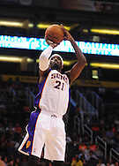 Oct. 22 2010; Phoenix, AZ, USA; Phoenix Suns power forward Hakim Warrick (21) puts up a basket during the first half against the Denver Nuggets during a preseason game at the US Airways Center. The Nuggets defeated the Suns 144 - 106. Mandatory Credit: Jennifer Stewart-US PRESSWIRE.