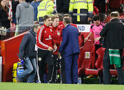 Scotland U21 Head Coach Scott Gemmill and England's U21 Manager Aidy Boothroyd shake hands at full time  during the U21 UEFA EURO first qualifying round match between England and Scotland at the Riverside Stadium, Middlesbrough, England on 6 October 2017. Photo by Paul Thompson.