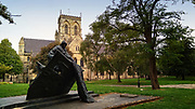 Grimsby Fishermen's Memorial by sculptor Trevor Harries is situated in St. James Square in front of Grimsby Minster.