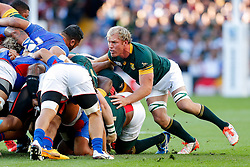 South Africa Flanker Schalk Burger in action at a scrum - Mandatory byline: Rogan Thomson/JMP - 07966 386802 - 26/09/2015 - RUGBY UNION - Villa Park - Birmingham, England - South Africa v Samoa - Rugby World Cup 2015 Pool B.