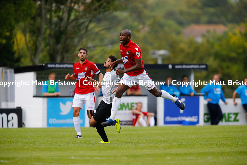 AUGUST 12:  Dover Athletic against Wrexham in Conference Premier at Crabble Stadium in Dover, England. Wrexham's defender Manny Smith leaps to win the ball ahead of Dover's forward Jamie Allen. (Photo by Matt Bristow/mattbristow.net)