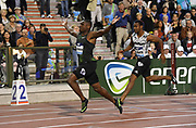 Christian Coleman (USA) celebrates after defeating Yohan Blake (JAM) to win the 100m in 9.79 in the 43nd Memorial Van Damme in an IAAF Diamond League meet at King Baudouin Stadium in Brussels, Belgium on Friday,August 31, 2018. (Jiro Mochizuki/Image of Sport)