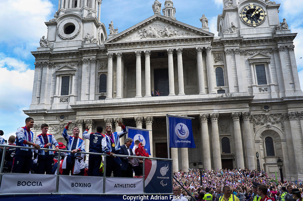British Olympic and Paralympic athletes pass by St Pauls during the victory parade through London