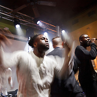 Picture shows :<br /> Alloysious Massaquoi,  Kayus Bankole and 'G' Hastings of Edinburgh band Young Fathers pictured in Austin, Texas at The Creative Scotland showcase at the British Music Embassy at Latitude just off 6th street in downtown Austin.<br /> Picture  &copy; Drew Farrell<br /> 14th March 2014<br /> Creative Scotland is supporting a Scottish music showcases at South by South West (SxSW), the world&rsquo;s most prestigious international showcase for contemporary music.  <br /> SxSW is one of the largest and most important events in the music industry calendar and recognised as providing an important platform for artists to develop their careers internationally.