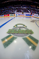 REGINA, SK - MAY 18: The Broncos logo at the Brandt Centre on May 18, 2018 in Regina, Canada. (Photo by Marissa Baecker/Shoot the Breeze)