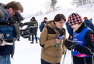 Justyna Wasiluk - polish athlete with intellectual disabilities after her start in Preliminary of Cross Country 100 meters Race Classical while TV interview during 2013 Special Olympics World Winter Games PyeongChang at Cross Country Skiing Venue on January 30, 2013...South Korea, PyeongChang, January 30, 2013..Picture also available in RAW (NEF) or TIFF format on special request...For editorial use only. Any commercial or promotional use requires permission...Photo by © Adam Nurkiewicz / Mediasport