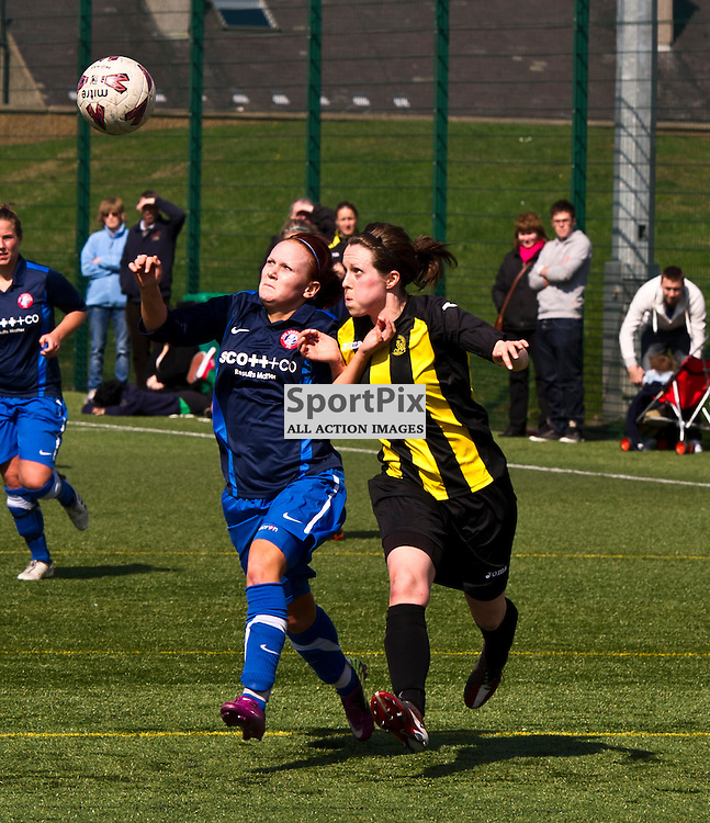 Bobbie Beveridge and Laura Gavin challenge for the ball. The home game for Hutchison Vale was played away as they had had forgotten to book their pitch. Hutchison Vale Ladies v Spartan Ladies in the Scottish Womens Premier League at Ainslie Park Edinburgh  21 April 2012