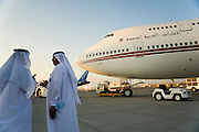 Dubai 2005, 9th International Aerospace Exhibition. Sheiks visiting the official U.A.E. governmental Boeing 747 Jumbo plane.