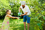 Father, Daughter, Gardening, Playful, Watering Can,
