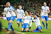 Portsmouth midfielder André Green celebrates his late winner during the The FA Cup 3rd round match between Norwich City and Portsmouth at Carrow Road, Norwich, England on 5 January 2019.