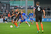 Hartlepool United midfielder Nicky Featherstone (4) defends against Barnet midfielder Curtis Weston (8) during the EFL Sky Bet League 2 match between Barnet and Hartlepool United at Underhill Stadium, London, England on 29 October 2016. Photo by Jon Bromley.