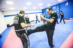 Punching under the area of the hoop, Stef Noij, KMG Instructor from the Institute Krav Maga Netherlands, at the IKMS G Level Programme seminar today at the Scottish Martial Arts Centre, Alloa.