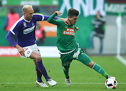 23.10.2016, Allianz Stadion, Wien, AUT, 1. FBL, SK Rapid Wien vs FK Austria Wien, 12 Runde, im Bild Raphael Holzhauser (FK Austria Wien) und Thomas Murg (SK Rapid Wien) // during Austrian Football Bundesliga Match, 12th Round, between SK Rapid Vienna and FK Austria Wien at the Allianz Stadion, Vienna, Austria on 2016/10/23. EXPA Pictures © 2016, PhotoCredit: EXPA/ Thomas Haumer
