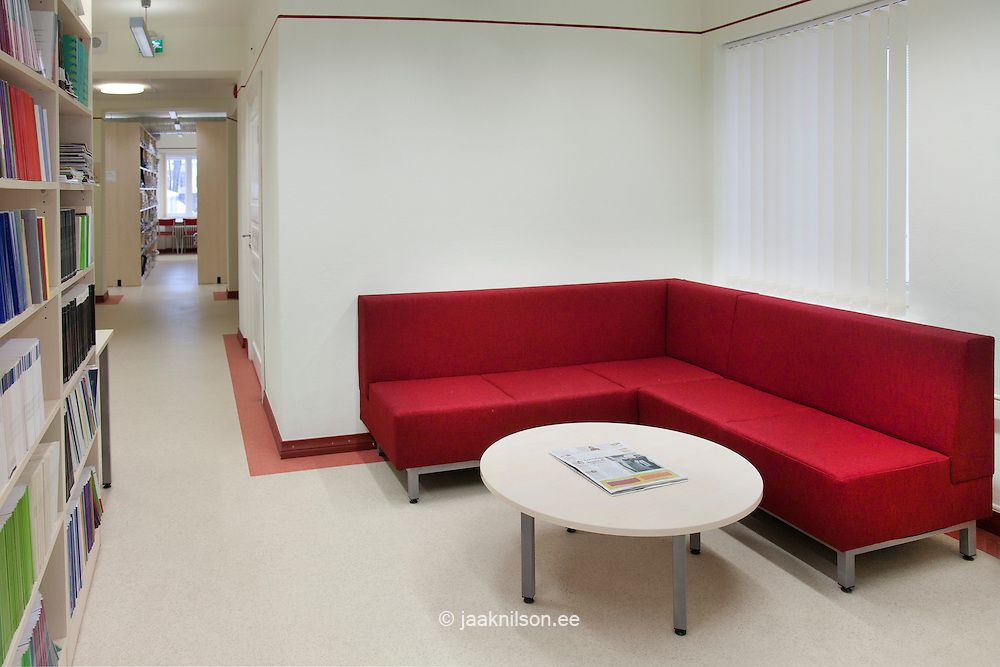 Sofa with round table in library, Tartu University, Estonia