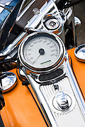Speedometer of Harley Davidson motorcycle at luxury resort South Beach, Miami, Florida, United States of America