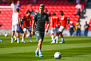 Leeds United defender Ezgjan Alioski (10) warming up during the EFL Sky Bet Championship match between Stoke City and Leeds United at the Bet365 Stadium, Stoke-on-Trent, England on 24 August 2019.