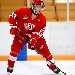 AURORA, ON - Jan 29 : Ontario Junior Hockey League Game Action between the Hamilton Red Wings and the Aurora Tigers, Alex Zaccaria #93 of the Hamilton Red Wings Hockey Club during the pre-game warm-up.<br /> (Photo by Brian Watts / OJHL Images)