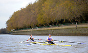 London, United Kingdom. left. Sophie HOSKING and Jessica EDDIE. Boating before the Women's Wingfield Sculls, Raced over the Championship Course,  Putney to Mortlake, Thursday  05/11/2009 [Mandatory Credit Peter Spurrier/ Intersport Images]