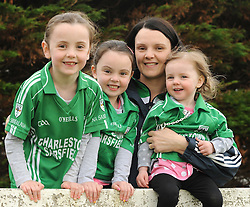 Michelle Gallagher from Charlestown with her 3 girls Maríosa, Grace and Croía watching the club championship match against Ballintubber on sturday last.<br /> Pic Conor McKeown