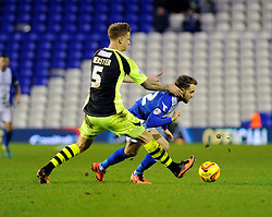 Birmingham City's Andrew Shinnie is fouled by Yeovil Town's Byron Webster - Photo mandatory by-line: Dougie Allward/JMP - Tel: Mobile: 07966 386802 18/01/2014 - SPORT - FOOTBALL - St Andrew's Stadium - Birmingham - Birmingham City v Yeovil Town - Sky Bet Championship