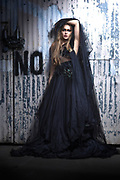 Fashion model Brenna Smith in a couture, hand-beaded tulle gown by Nick Nguyen of Mysterious by NPN for a shoot at the site of When World's Collide production of Industrial Evolution fashion show. By Gerard Harrison, Image Theory Photoworks.