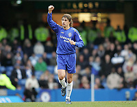 Photo: Lee Earle.<br /> Chelsea v Birmingham City. The Barclays Premiership.<br /> 31/12/2005.<br /> Chelsea's Hernan Crespo celebrates scoring their opening goal.