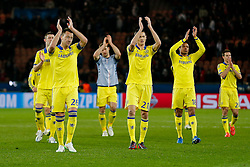 John Terry of Chelsea leads his players as they applaud the away fans after the match ends in a 1-1 draw - Photo mandatory by-line: Rogan Thomson/JMP - 07966 386802 - 17/02/2015 - SPORT - FOOTBALL - Paris, France - Parc des Princes - Paris Saint-Germain v Chelsea - UEFA Champions League, Last 16, First Leg.