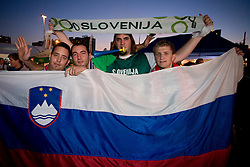 Slovenian fans before the EuroBasket 2009 Quaterfinals match between Slovenia and Croatia, on September 18, 2009, in Arena Spodek, Katowice, Poland.  (Photo by Vid Ponikvar / Sportida)