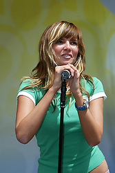 Nadine Coyle, of Girls Aloud, performing on stage at the Live and Loud concert at Hampden Stadium, 2004..Pic ©2010 Michael Schofield. All Rights Reserved.