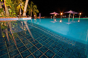 Nightime shot of the infinity pool at Iririki Island Resort in Port Vila, Vanuatu.