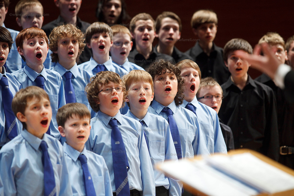 The NYCoS National Boys Choir ( blue shirts) and  Changed Voices (black shirts) , Horsecross, Perth, April 2009. Conducted by Christopher Bell ( Artistic Director and Conductor)..3rd April 2009...© Drew Farrell    Tel :  07721-735041.If you require any more information please contact Ruth Townsend @The National Youth Choir of Scotland Tel : 0141 287 2856.Note to Editors:  This image is free to be used editorially in the promotion of The National Youth Choir of Scotland. Without prejudice ALL other licences without prior consent will be deemed a breach of copyright under the 1988. Copyright Design and Patents Act  and will be subject to payment or legal action, where appropriate.....