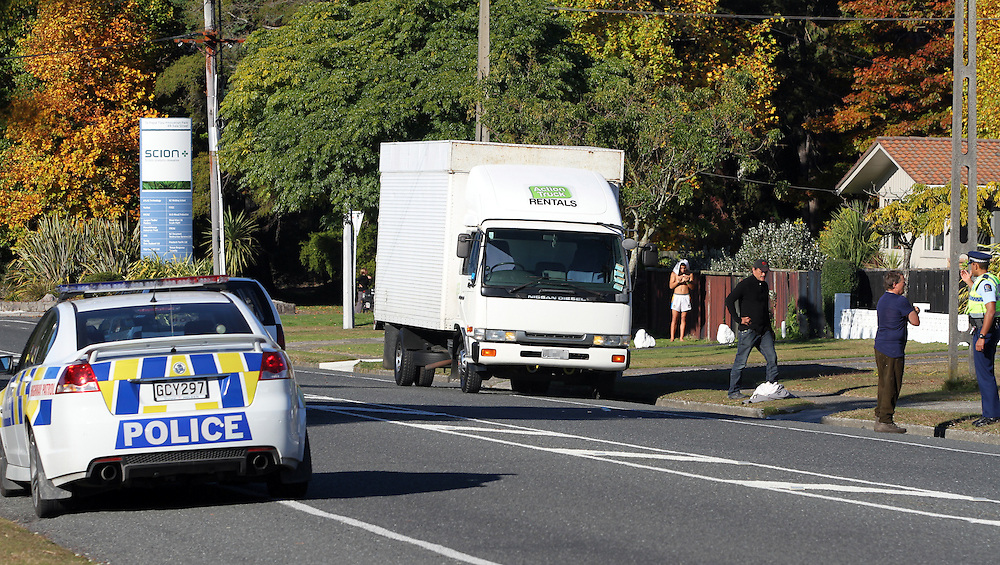 Police investigate an accident on Sala St where a child was taken to Rotorua Hospital, Rotorua, New Zealand, Saturday, May 05, 2012. Credit;SNPA / Peter Graney.