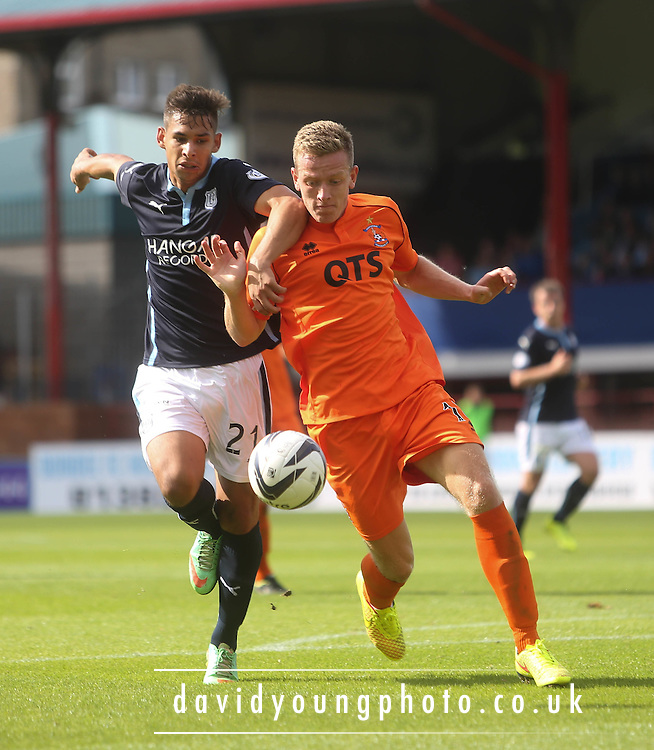 Kilmarnock's Lee Ashcroft and Dundee's Luka Tankulic - Dundee v Kilmarnock - SPFL Premiership at Dens Park<br /> <br />  - &copy; David Young - www.davidyoungphoto.co.uk - email: davidyoungphoto@gmail.com