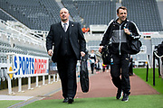 Newcastle United manager Rafael Benitez arrives ahead of the EFL Sky Bet Championship match between Newcastle United and Barnsley at St. James's Park, Newcastle, England on 7 May 2017. Photo by Craig Doyle.