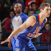 BYU alumni JIMMER FREDETTE (16) sets up one defends  in the second half of a NBA D-league regular season basketball game between the Delaware 87ers and the Westchester Knicks Saturday Dec, 26, 2015 at The Bob Carpenter Sports Convocation Center in Newark, DEL
