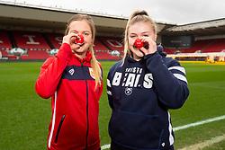 Lucy Graham of Bristol City Women and Mackenzie Carson of Bristol Bears Women during a photo call at Ashton Gate for Red Nose Day - Ryan Hiscott/JMP - 06/03/2019 - SPORT - Ashton Gate Stadium - Bristol, England - Bristol Sport Red Nose Day