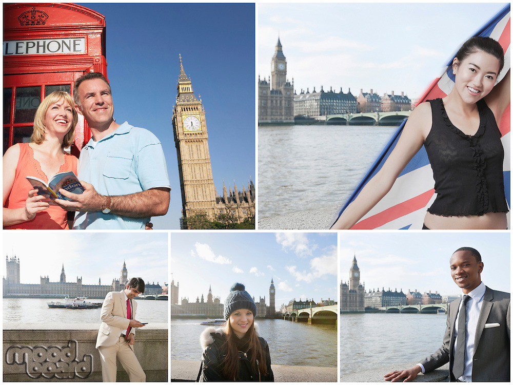 Collage of people on vacation in London