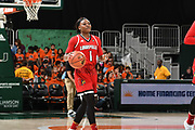 January 25, 2018: Dana Evans #1 of Louisville in action during the NCAA basketball game between the Miami Hurricanes and the Louisville Cardinals in Coral Gables, Florida. The Cardinals defeated the 'Canes 84-74.