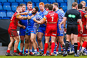 A fracas between the two sides during the Betfred Championship match between Halifax RLFC and London Broncos at the MBi Shay Stadium, Halifax, United Kingdom on 8 April 2018. Picture by Simon Davies.