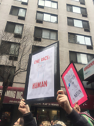 "NEW YORK, USA - Saturday, January 21, 2017: A woman holds up a banner ""One Race: Human"" as thousands of people take part in the Women's March on January 21, 2017 in New York City. The Midtown Manhattan event was one of many anti-Trump protests nationwide that came a day after Donald Trump was sworn in as the 45th President of the United States. (Pic by Concepcion Valadez/Propaganda)"