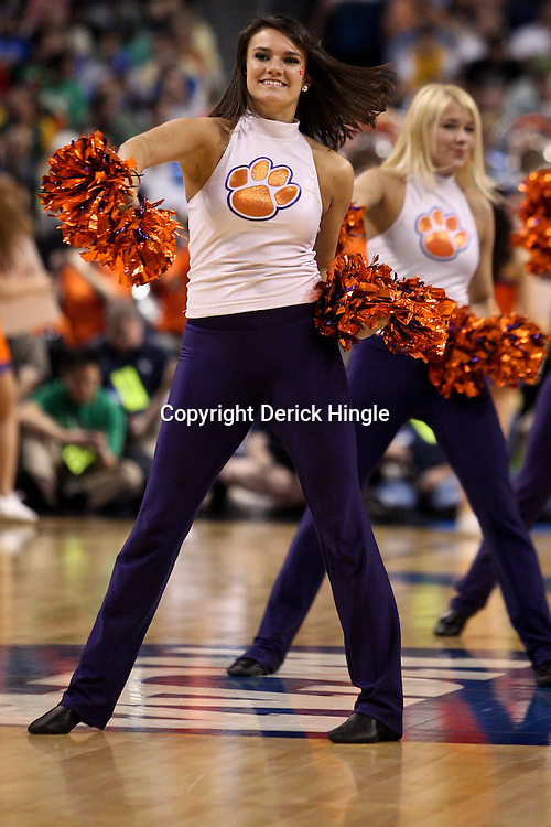 Mar 17, 2011; Tampa, FL, USA; Clemson Tigers cheerleaders during the first half of the second round of the 2011 NCAA men's basketball tournament against the West Virginia Mountaineers at the St. Pete Times Forum.  Mandatory Credit: Derick E. Hingle