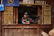 Teahouse with red bull cans above Xidang, on the path to Nanzong Pass and Yubeng village, near the Tibetan border in the Meili Xue Shan.