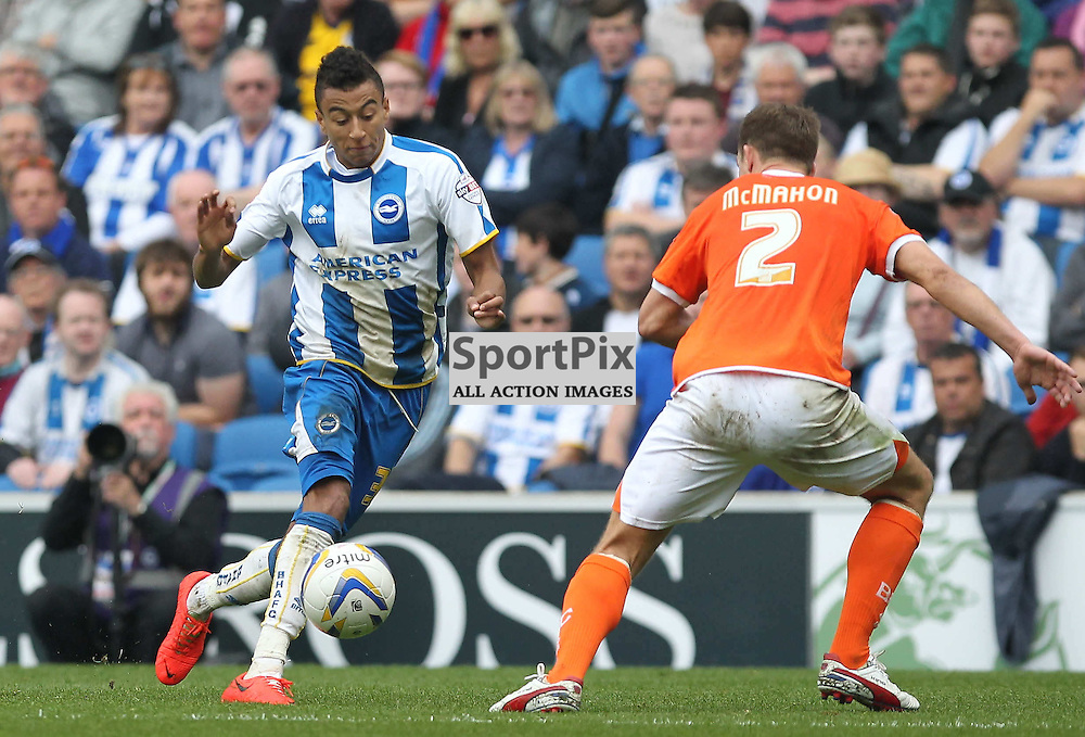Brighton's Jesse Lingard pushes forward during the English Sky BET Championship match between Brighton & Hove Albion FC and Blackpool FC at the American Express Community Stadium, Brighton, 21st April 2014 © Phil Duncan | SportPix.org.uk