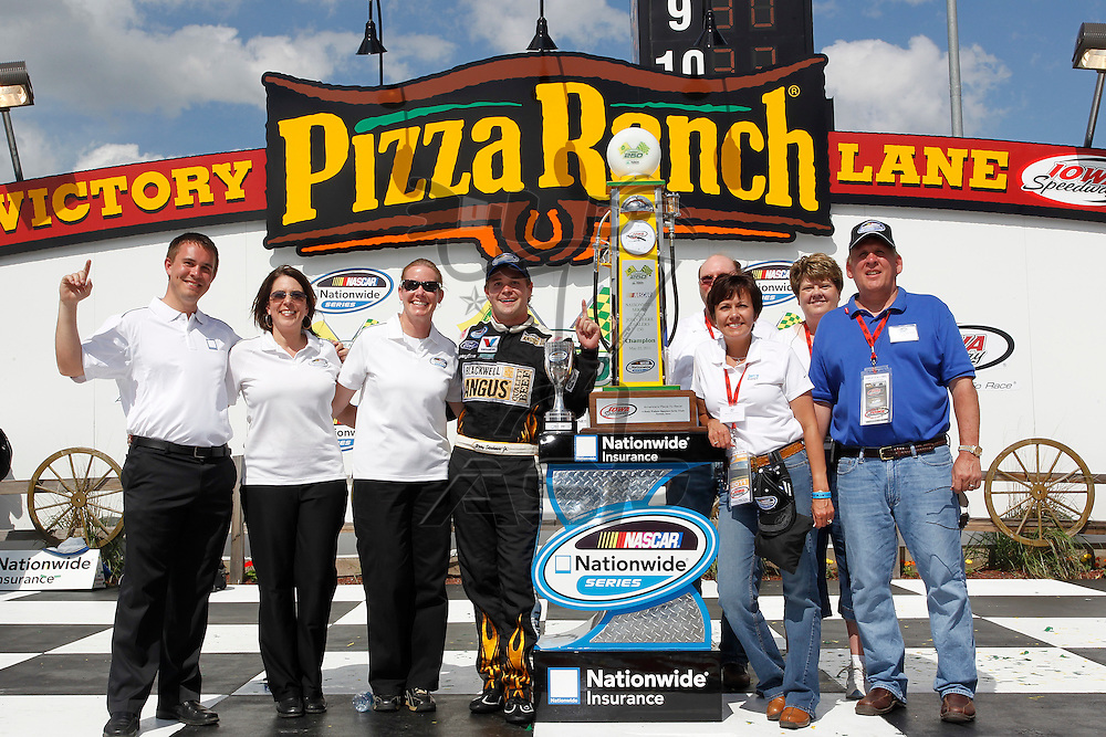 NEWTON, IA - MAY 22, 2011: Ricky Stenhouse, Jr. (6) wins the  The Inaugural Iowa John Deere Dealers 250 race at the Iowa Speedway in Newton, IA.