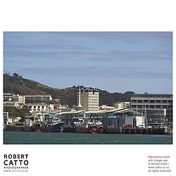 Wellington's Overseas Terminal with boats tied up seen from Lambton Harbour, Wellington, New Zealand.<br />
